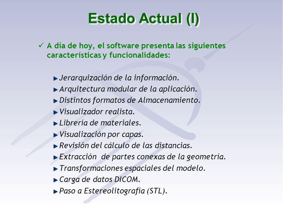 Estado Actual (I) A día de hoy, el software presenta las siguientes características y funcionalidades: