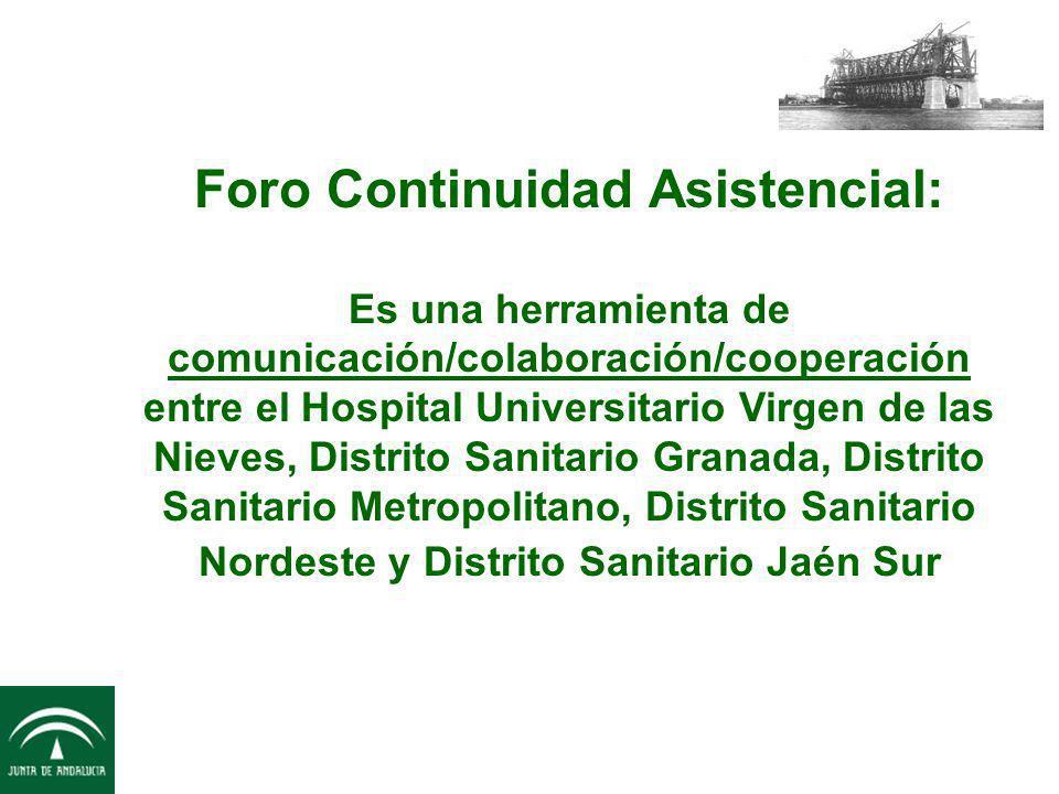 Foro Continuidad Asistencial: Es una herramienta de comunicación/colaboración/cooperación entre el Hospital Universitario Virgen de las Nieves, Distrito Sanitario Granada, Distrito Sanitario Metropolitano, Distrito Sanitario Nordeste y Distrito Sanitario Jaén Sur