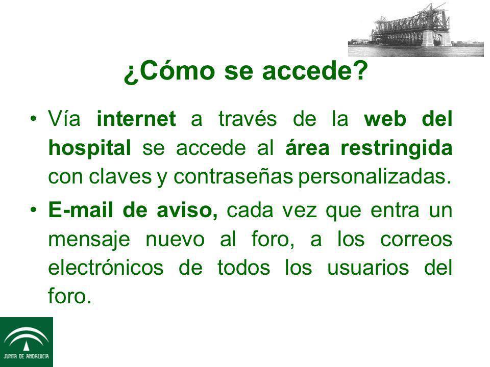 ¿Cómo se accede Vía internet a través de la web del hospital se accede al área restringida con claves y contraseñas personalizadas.
