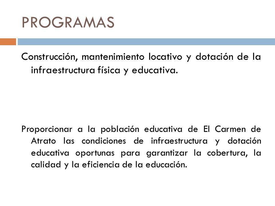 PROGRAMAS Construcción, mantenimiento locativo y dotación de la infraestructura física y educativa.