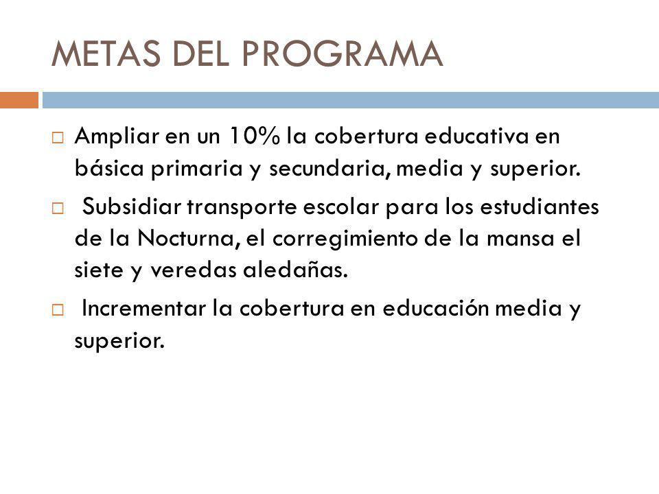 METAS DEL PROGRAMA Ampliar en un 10% la cobertura educativa en básica primaria y secundaria, media y superior.