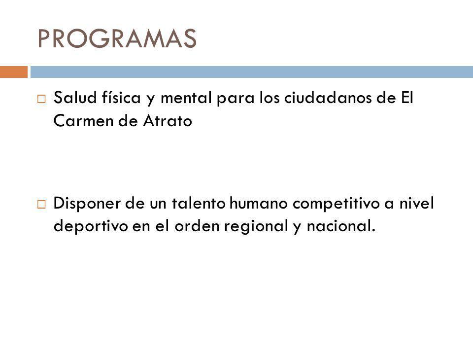 PROGRAMAS Salud física y mental para los ciudadanos de El Carmen de Atrato.
