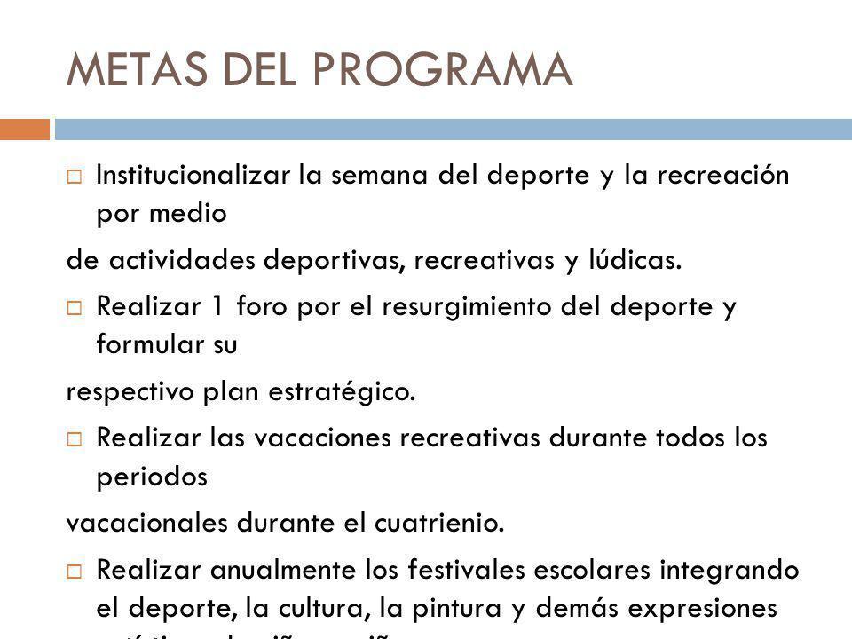 METAS DEL PROGRAMA Institucionalizar la semana del deporte y la recreación por medio. de actividades deportivas, recreativas y lúdicas.