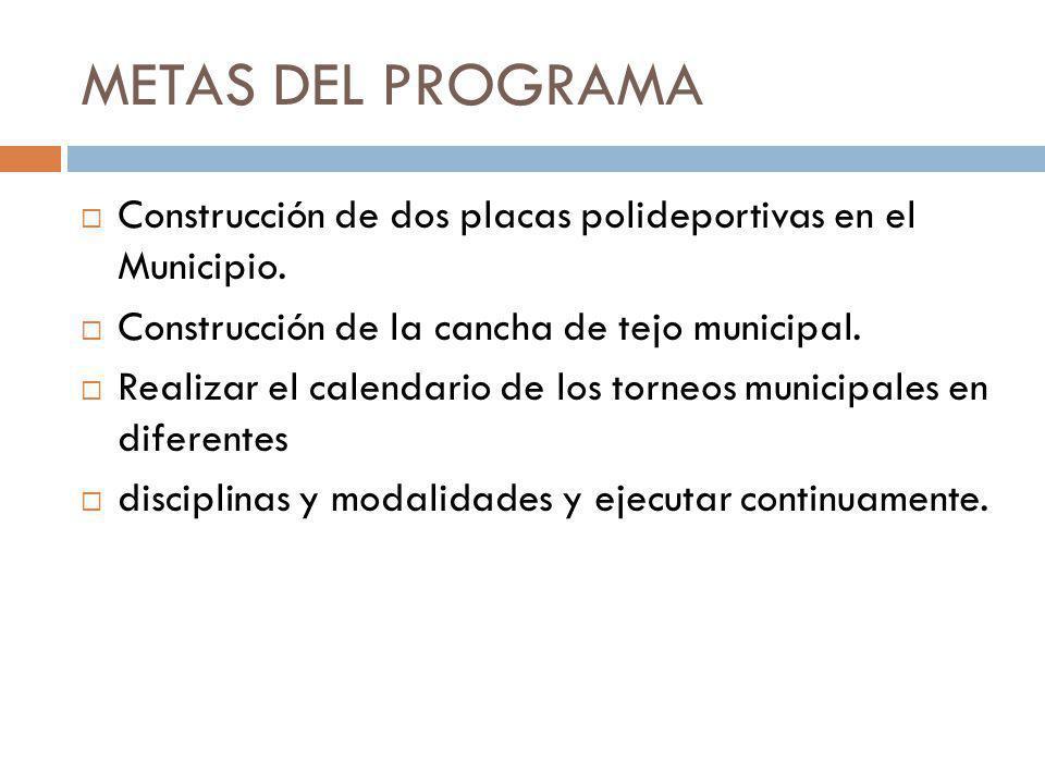 METAS DEL PROGRAMA Construcción de dos placas polideportivas en el Municipio. Construcción de la cancha de tejo municipal.