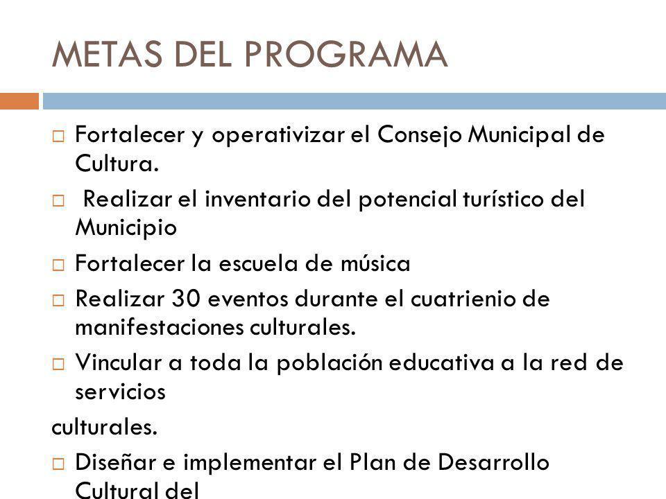METAS DEL PROGRAMA Fortalecer y operativizar el Consejo Municipal de Cultura. Realizar el inventario del potencial turístico del Municipio.
