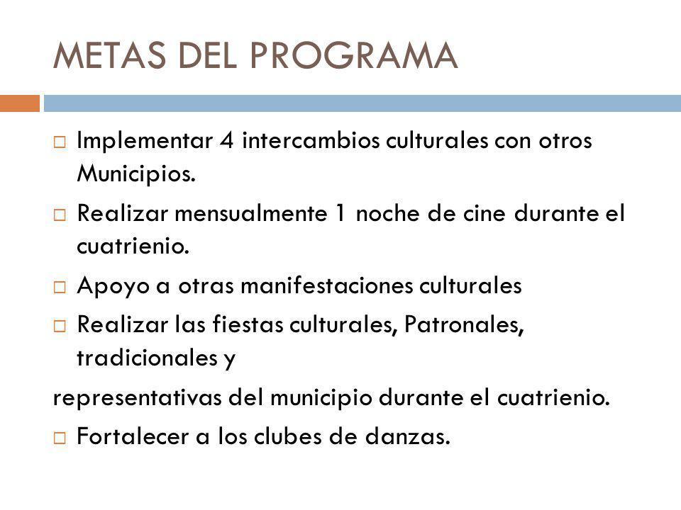 METAS DEL PROGRAMA Implementar 4 intercambios culturales con otros Municipios. Realizar mensualmente 1 noche de cine durante el cuatrienio.