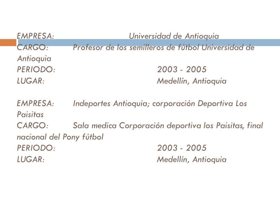 EMPRESA:. Universidad de Antioquia CARGO: