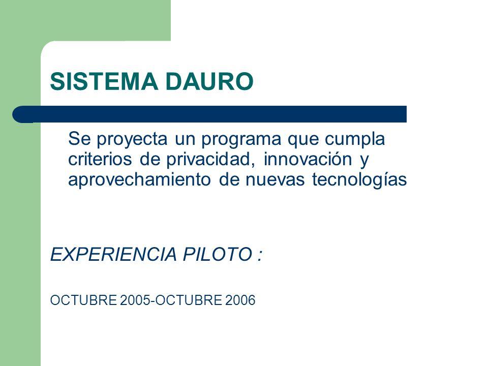 SISTEMA DAURO Se proyecta un programa que cumpla criterios de privacidad, innovación y aprovechamiento de nuevas tecnologías.