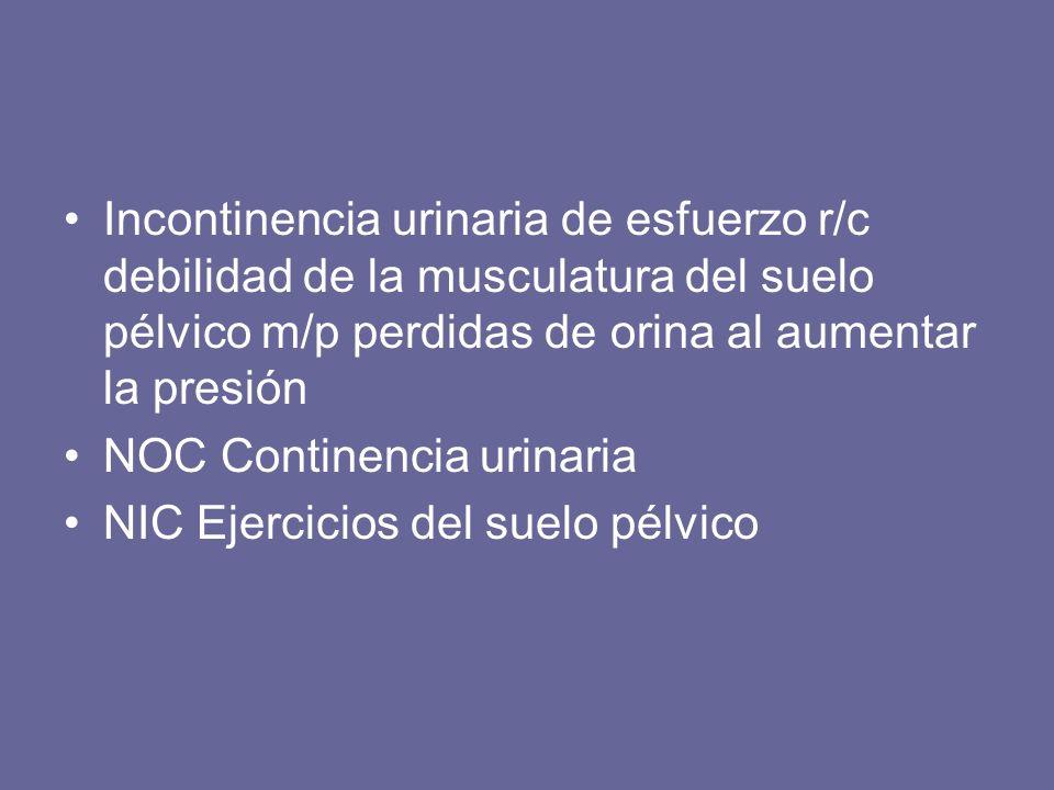 Incontinencia urinaria de esfuerzo r/c debilidad de la musculatura del suelo pélvico m/p perdidas de orina al aumentar la presión