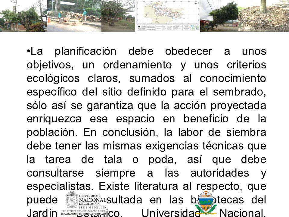 La planificación debe obedecer a unos objetivos, un ordenamiento y unos criterios ecológicos claros, sumados al conocimiento específico del sitio definido para el sembrado, sólo así se garantiza que la acción proyectada enriquezca ese espacio en beneficio de la población.