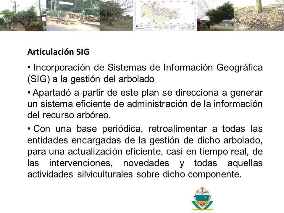 Articulación SIG Incorporación de Sistemas de Información Geográfica (SIG) a la gestión del arbolado.
