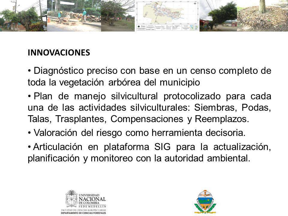 INNOVACIONES Diagnóstico preciso con base en un censo completo de toda la vegetación arbórea del municipio.
