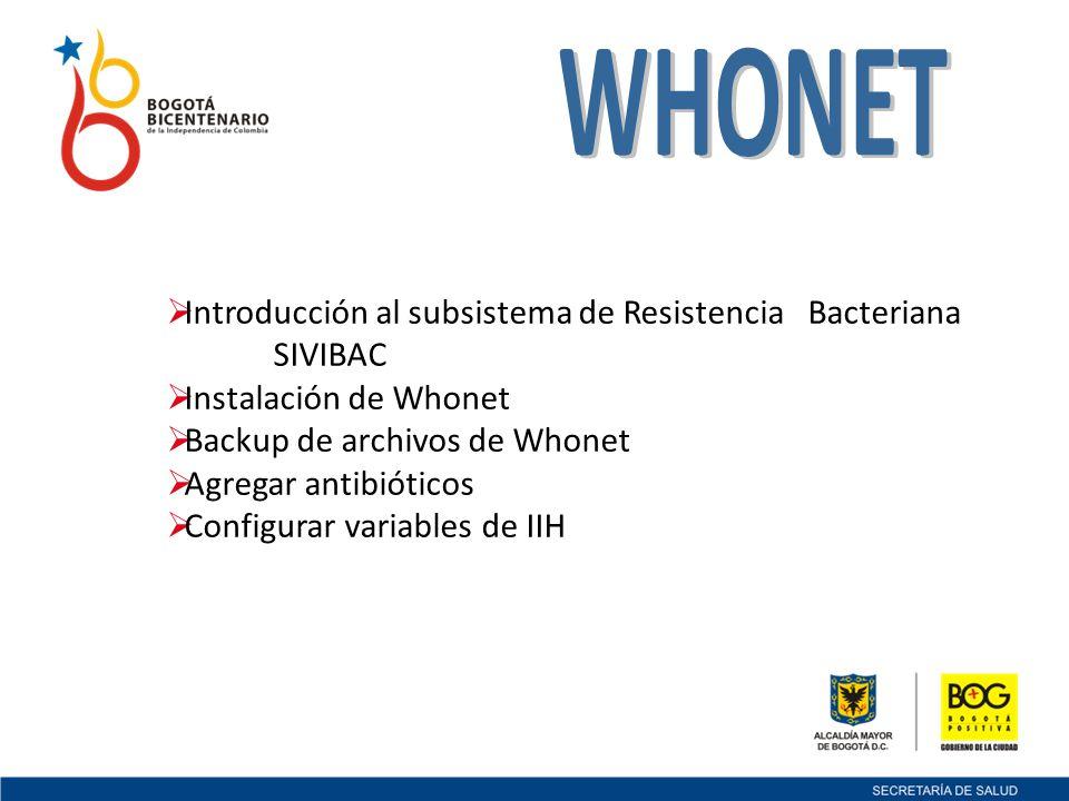 WHONET Introducción al subsistema de Resistencia Bacteriana SIVIBAC