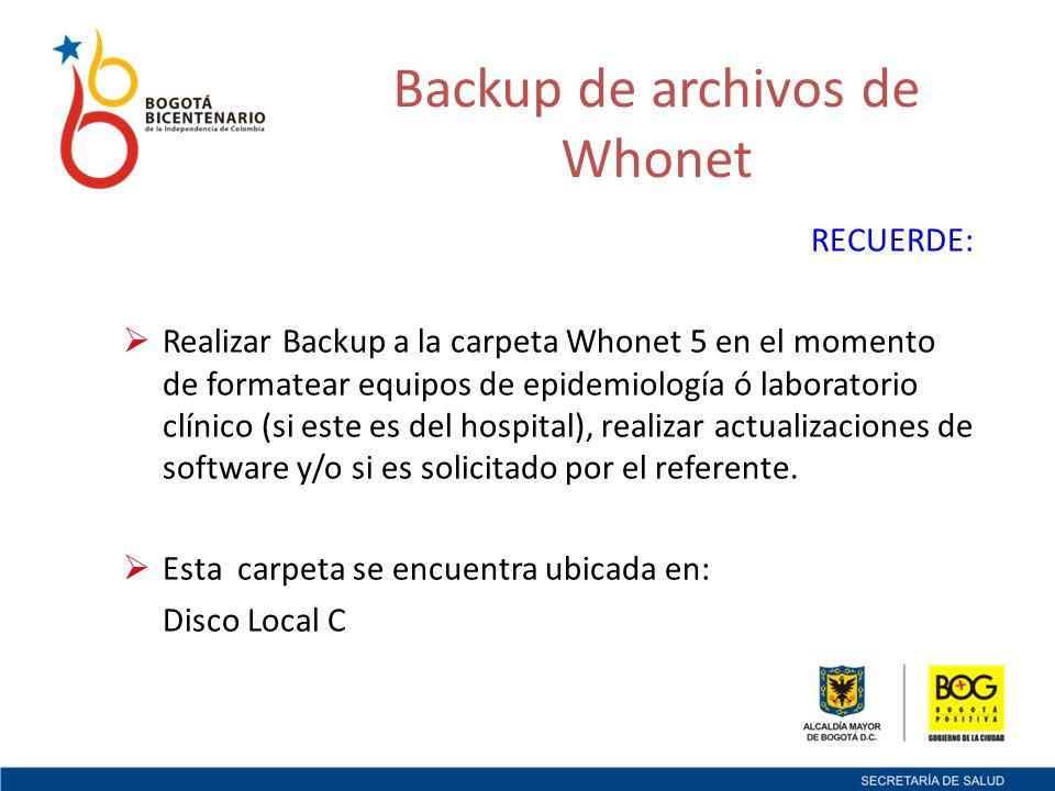 Backup de archivos de Whonet
