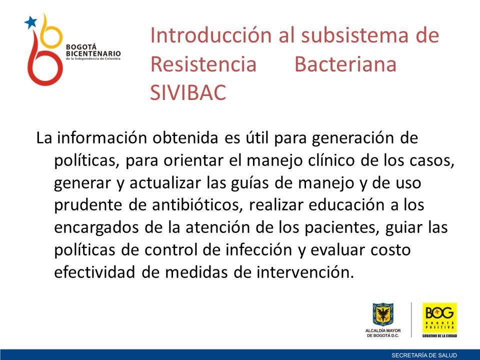 Introducción al subsistema de Resistencia Bacteriana SIVIBAC