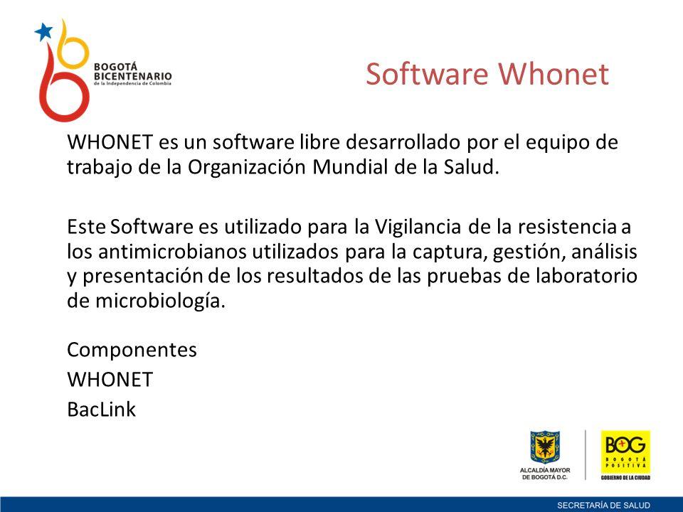Software Whonet WHONET es un software libre desarrollado por el equipo de trabajo de la Organización Mundial de la Salud.