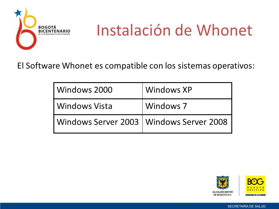 Instalación de Whonet El Software Whonet es compatible con los sistemas operativos: Windows 2000. Windows XP.