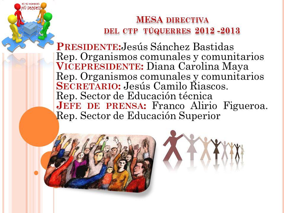 MESA directiva del ctp túquerres 2012 -2013