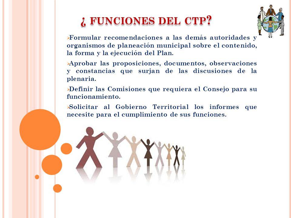 ¿ funciones del ctp