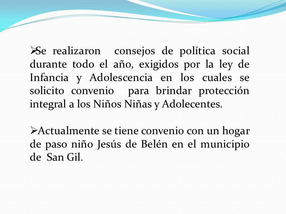 Se realizaron consejos de política social durante todo el año, exigidos por la ley de Infancia y Adolescencia en los cuales se solicito convenio para brindar protección integral a los Niños Niñas y Adolecentes.