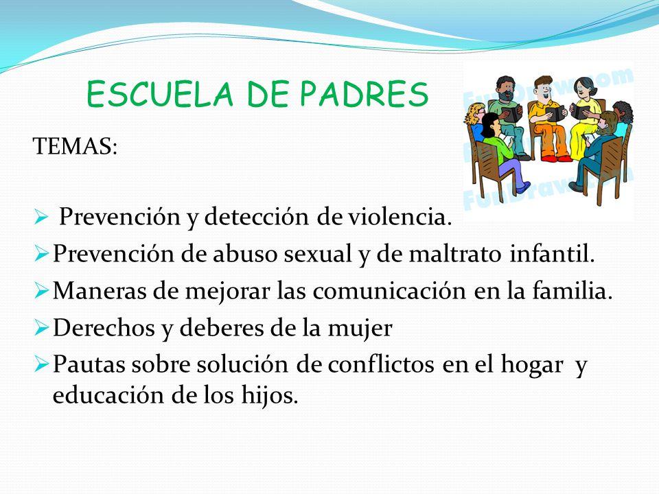 ESCUELA DE PADRES Prevención de abuso sexual y de maltrato infantil.