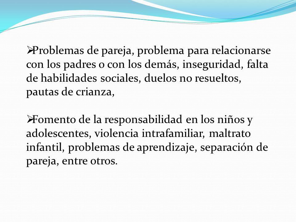Problemas de pareja, problema para relacionarse con los padres o con los demás, inseguridad, falta de habilidades sociales, duelos no resueltos, pautas de crianza,