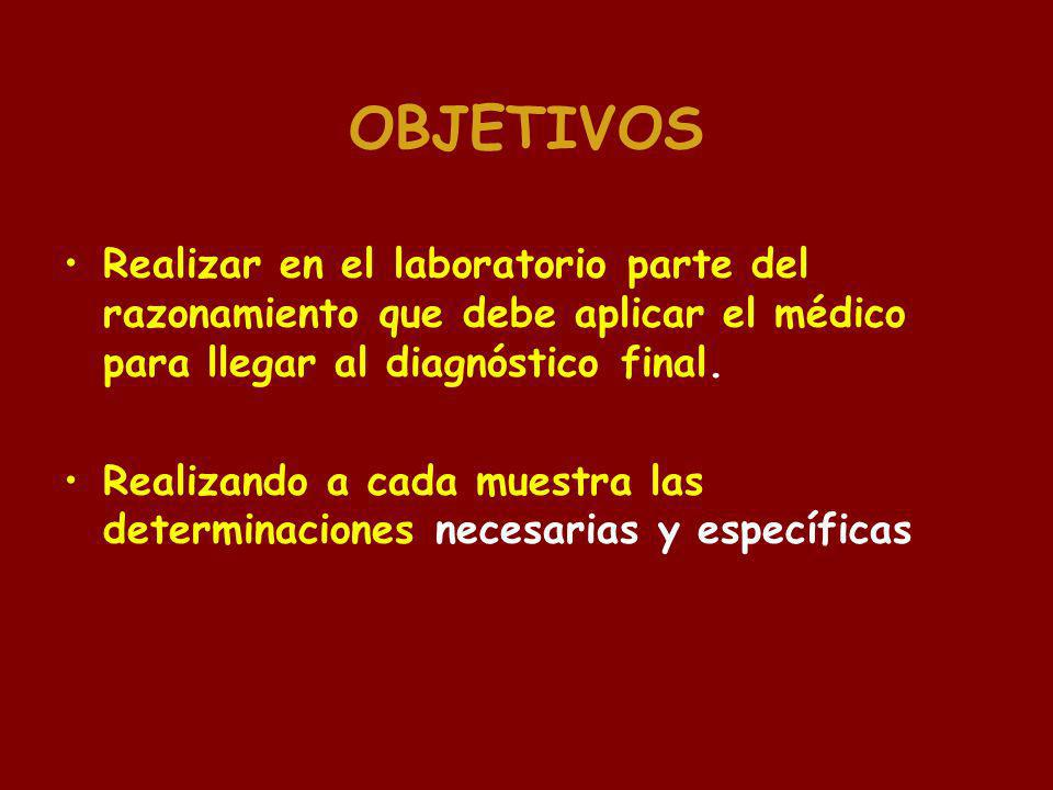 OBJETIVOS Realizar en el laboratorio parte del razonamiento que debe aplicar el médico para llegar al diagnóstico final.