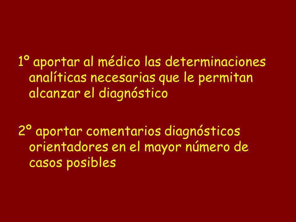 1º aportar al médico las determinaciones analíticas necesarias que le permitan alcanzar el diagnóstico