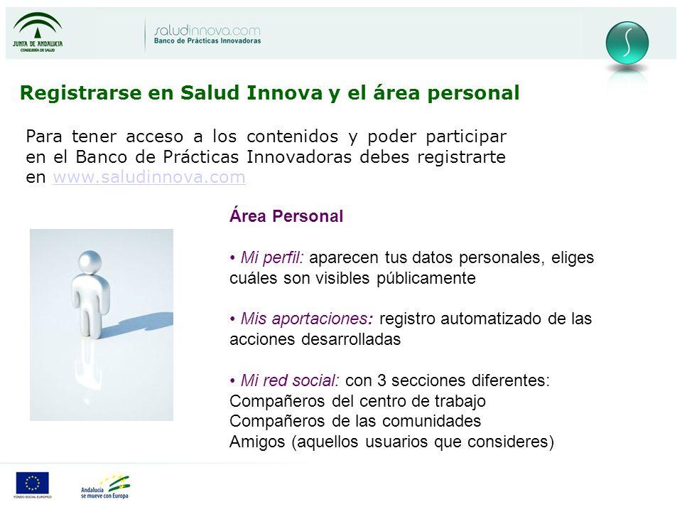 Registrarse en Salud Innova y el área personal