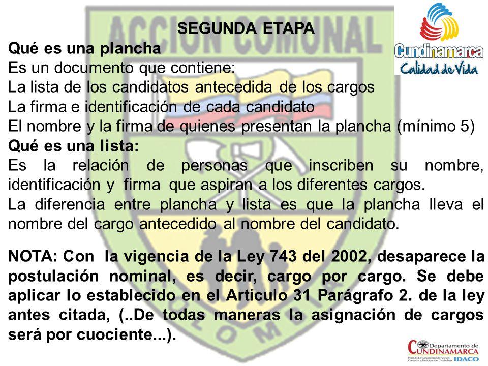 SEGUNDA ETAPA Qué es una plancha. Es un documento que contiene: La lista de los candidatos antecedida de los cargos.