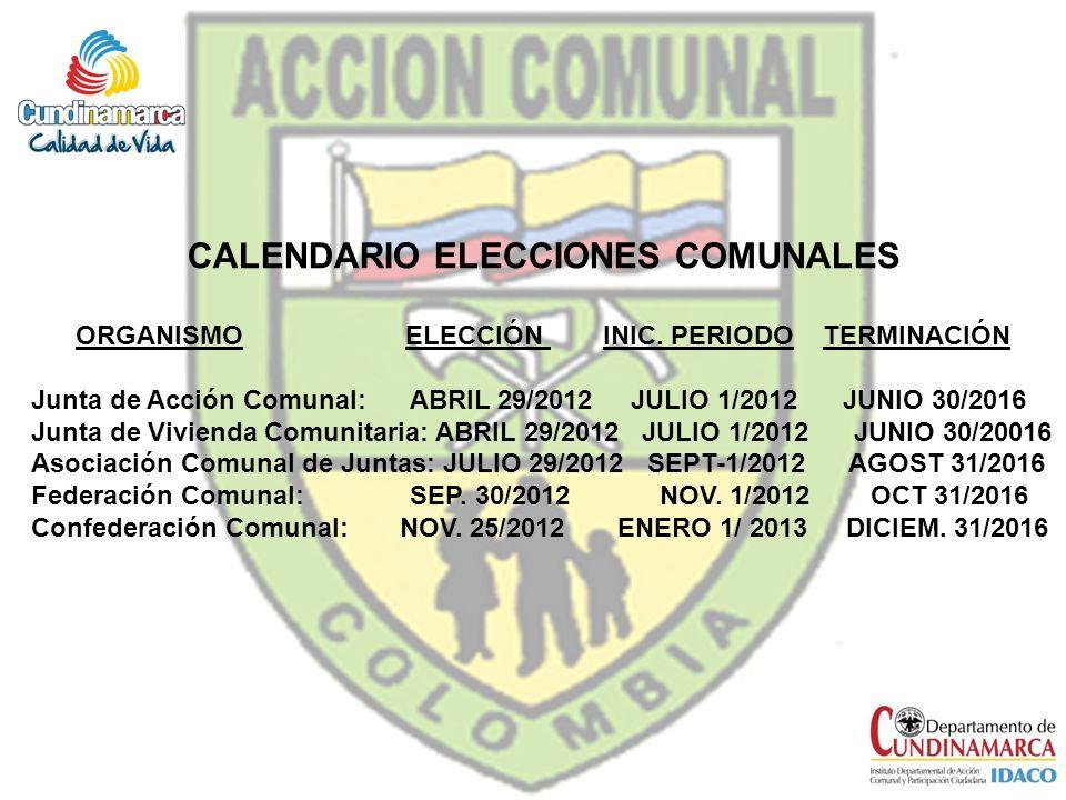 CALENDARIO ELECCIONES COMUNALES