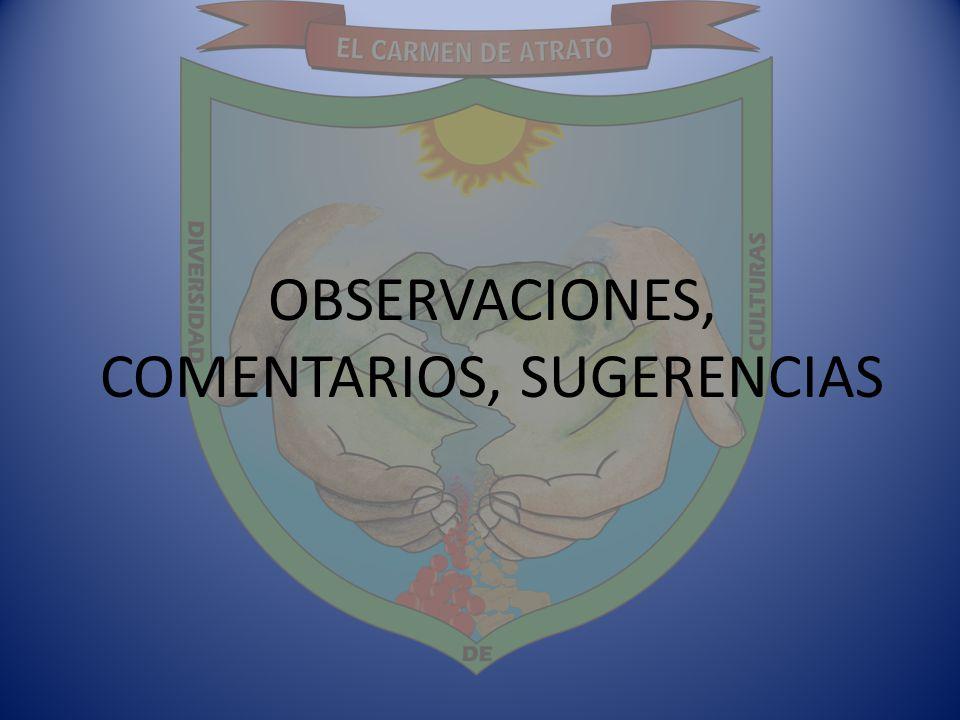 OBSERVACIONES, COMENTARIOS, SUGERENCIAS