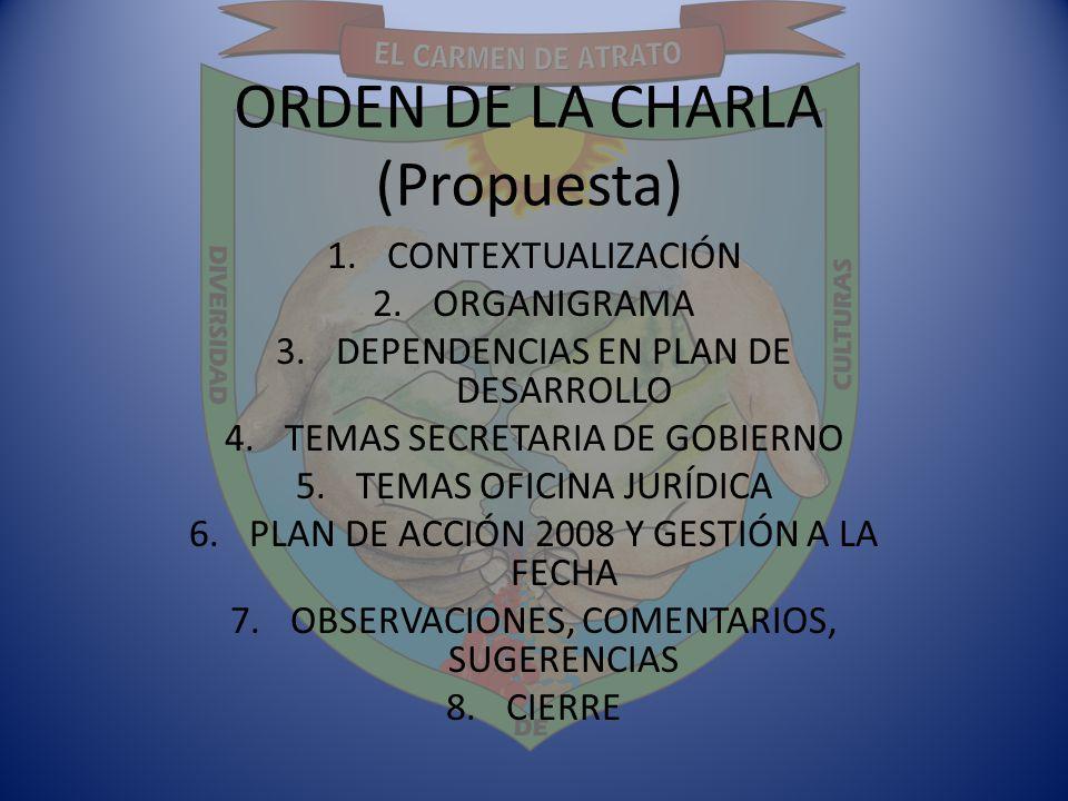 ORDEN DE LA CHARLA (Propuesta)