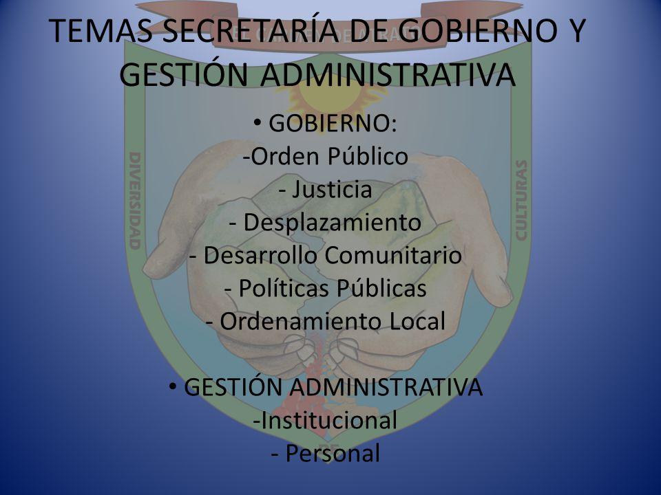 TEMAS SECRETARÍA DE GOBIERNO Y GESTIÓN ADMINISTRATIVA