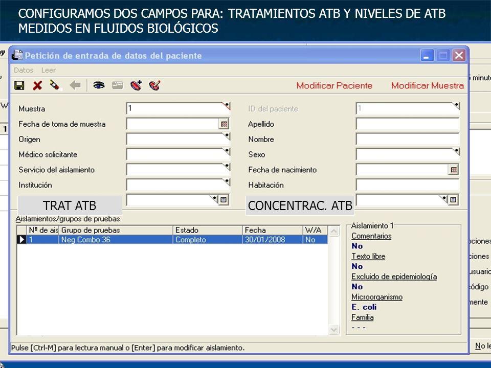 CONFIGURAMOS DOS CAMPOS PARA: TRATAMIENTOS ATB Y NIVELES DE ATB MEDIDOS EN FLUIDOS BIOLÓGICOS