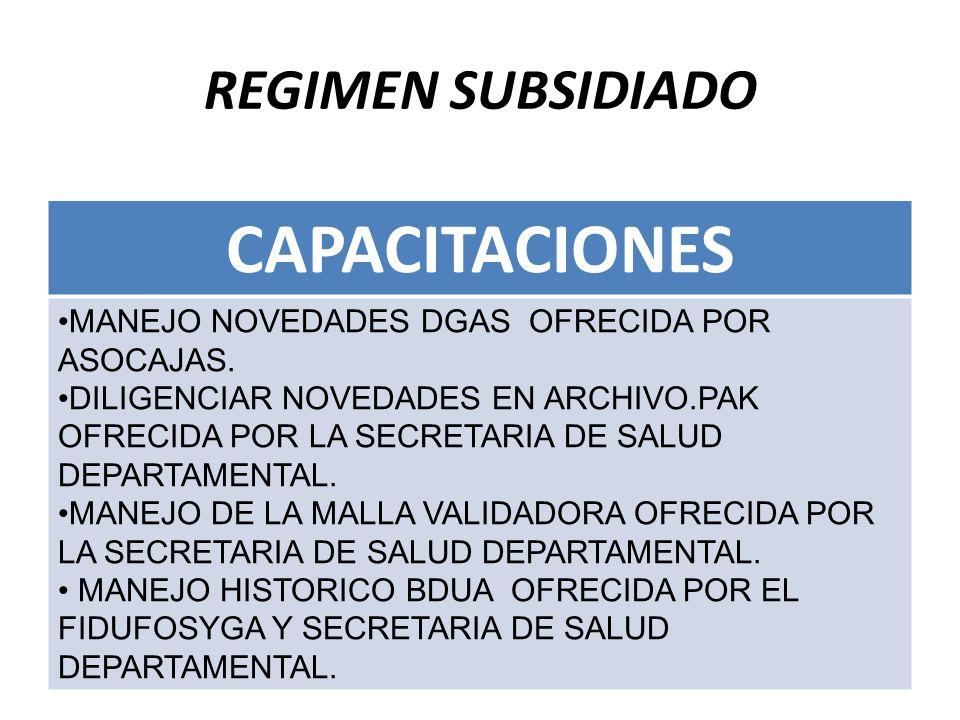 CAPACITACIONES REGIMEN SUBSIDIADO