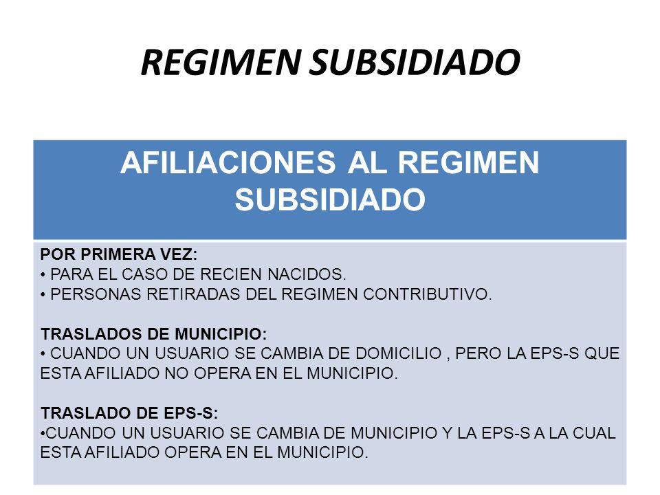 AFILIACIONES AL REGIMEN SUBSIDIADO