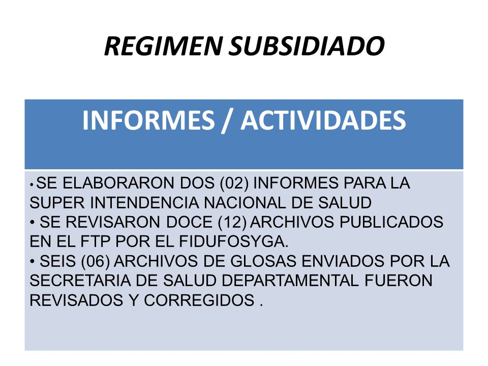 INFORMES / ACTIVIDADES