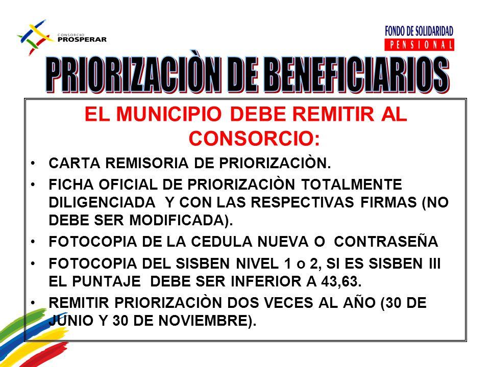 EL MUNICIPIO DEBE REMITIR AL CONSORCIO: