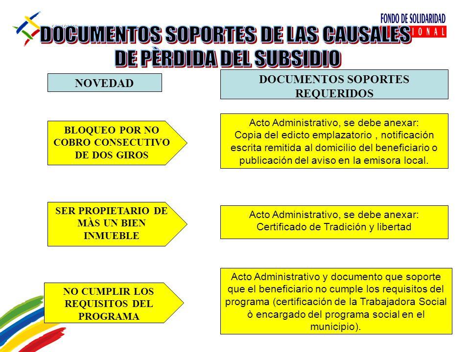 DOCUMENTOS SOPORTES DE LAS CAUSALES DE PÈRDIDA DEL SUBSIDIO