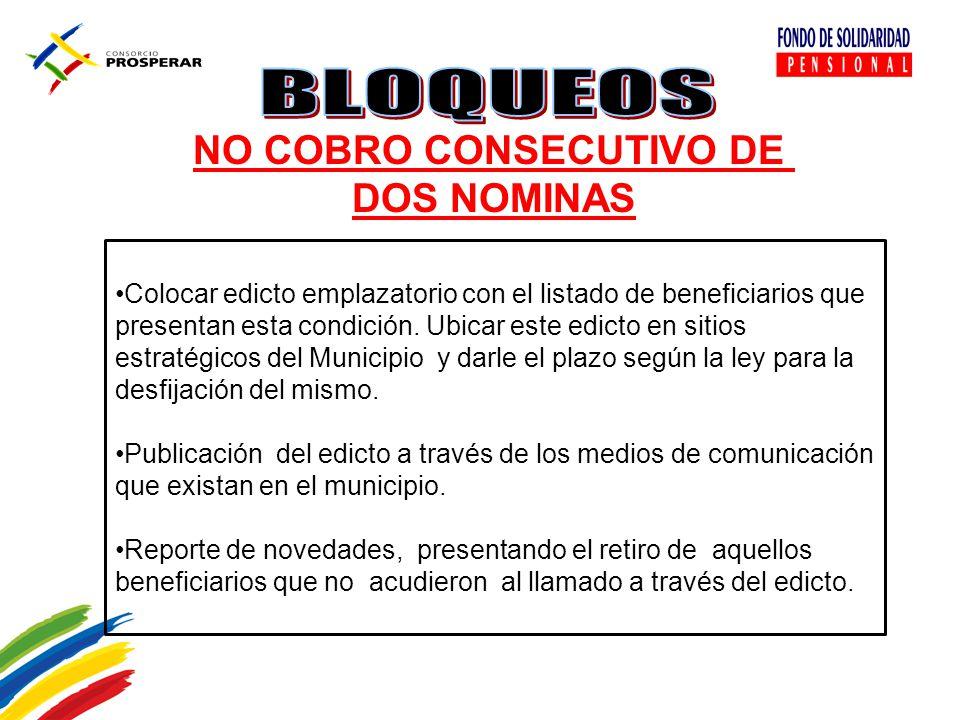 NO COBRO CONSECUTIVO DE