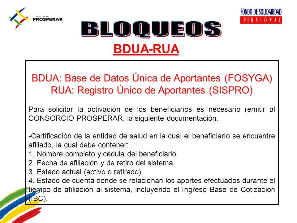 BDUA-RUA BDUA: Base de Datos Única de Aportantes (FOSYGA)