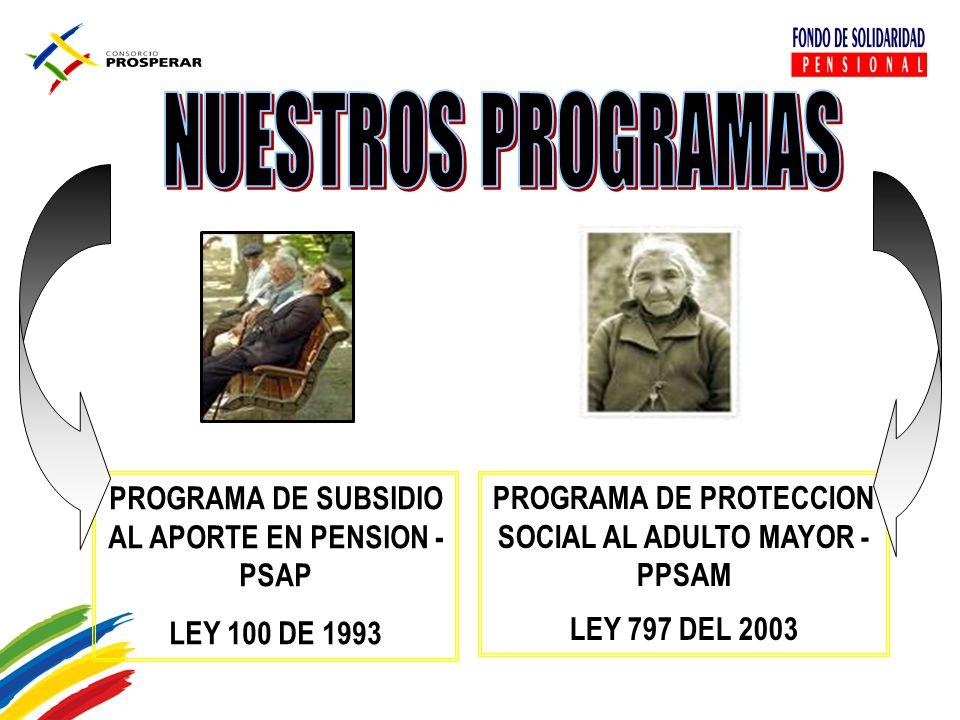 NUESTROS PROGRAMAS PROGRAMA DE SUBSIDIO AL APORTE EN PENSION - PSAP