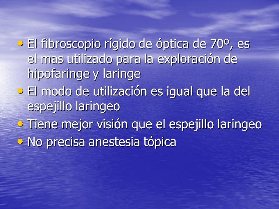 El fibroscopio rígido de óptica de 70º, es el mas utilizado para la exploración de hipofaringe y laringe