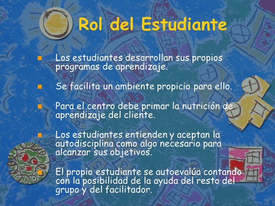 Rol del Estudiante Los estudiantes desarrollan sus propios programas de aprendizaje. Se facilita un ambiente propicio para ello.