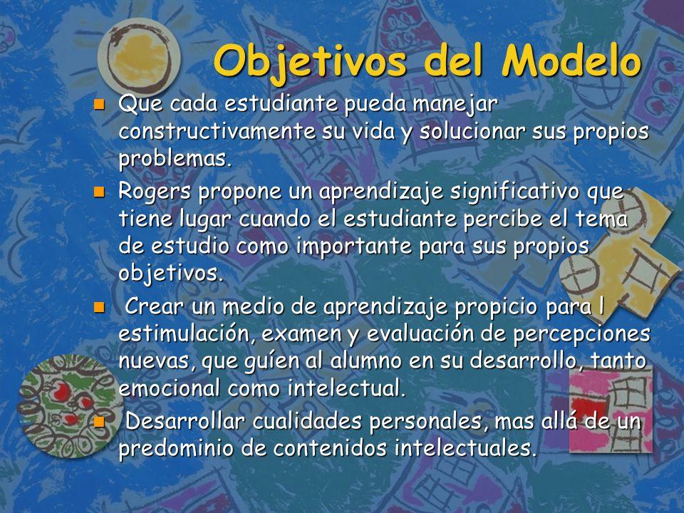 Objetivos del ModeloQue cada estudiante pueda manejar constructivamente su vida y solucionar sus propios problemas.