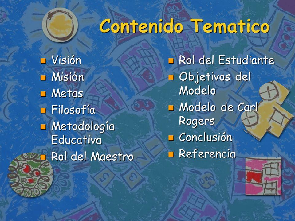 Contenido Tematico Visión Misión Metas Filosofía Metodología Educativa