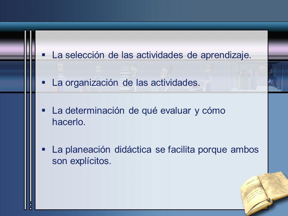 La selección de las actividades de aprendizaje.