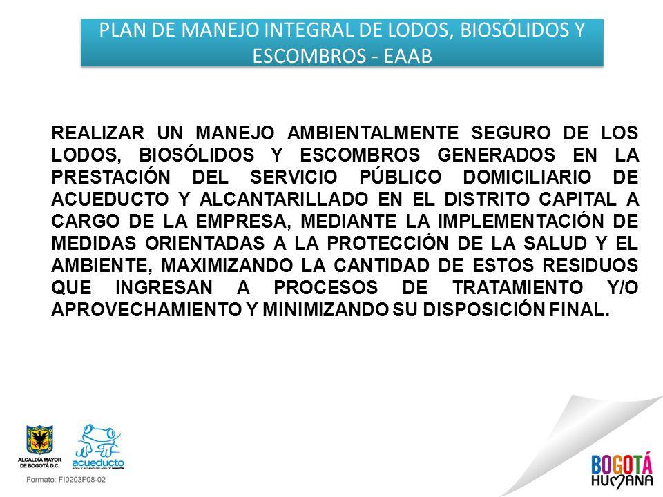 PLAN DE MANEJO INTEGRAL DE LODOS, BIOSÓLIDOS Y ESCOMBROS - EAAB