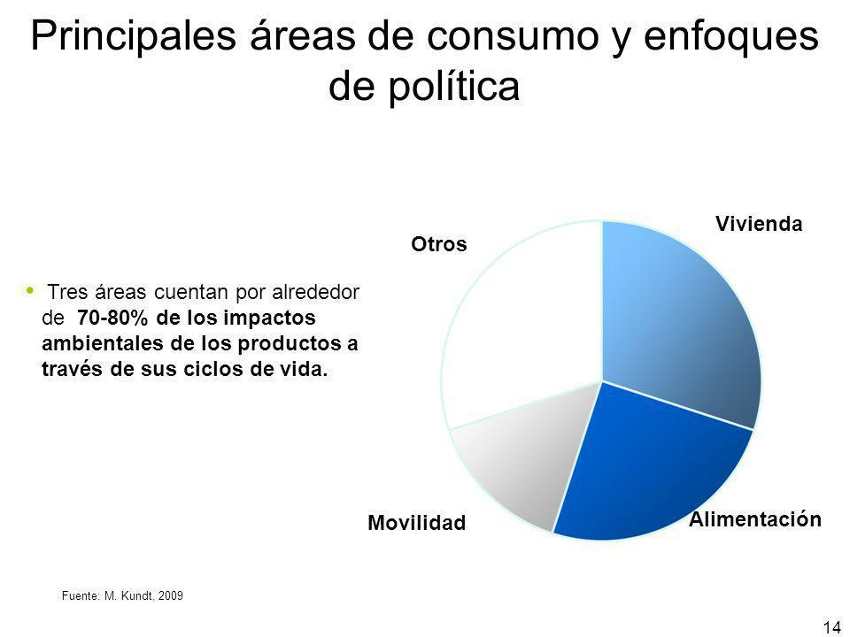 Principales áreas de consumo y enfoques de política